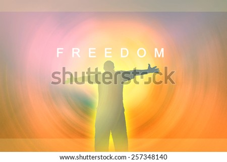 Man holding arms up in praise. concepts - freedom - stock photo
