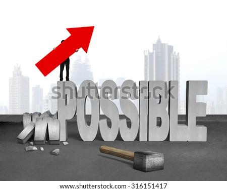 Concrete Wall Hole Sledgehammer Businessman Hold Image