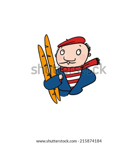 Man holding baguettes illustration; French man