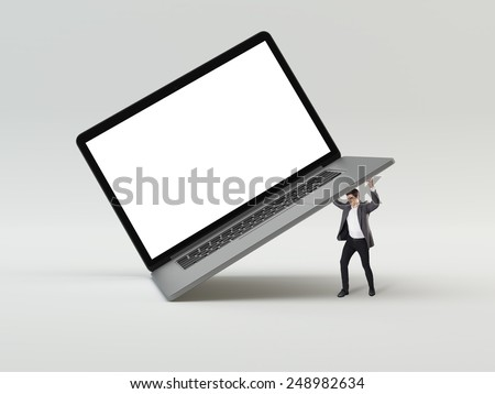 Man holding big laptop concept - stock photo