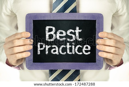 Man holding blackboard with word Best Practice  - stock photo