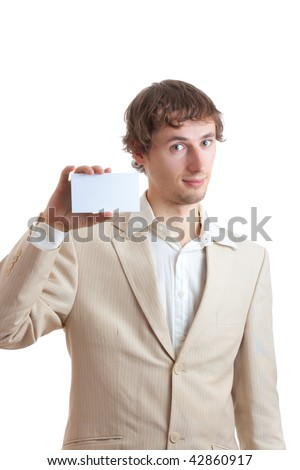 Man holding blank card for adverise isolated