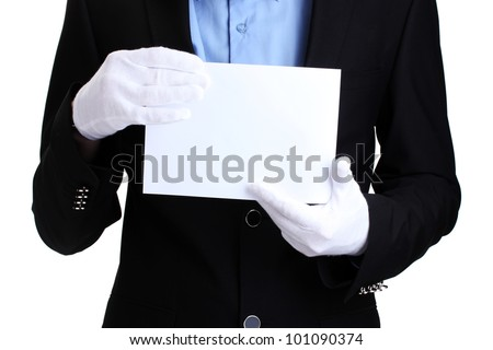 man holding blank paper isolated on white - stock photo
