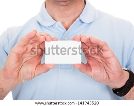 Man Holding Blank Visiting Card Over White Background