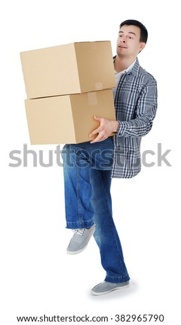 Man holding carton boxes isolated on white background