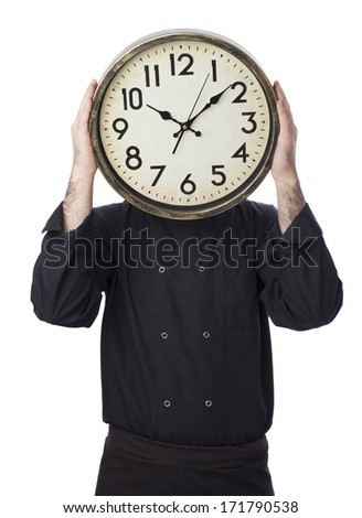 Man holding clock on white background