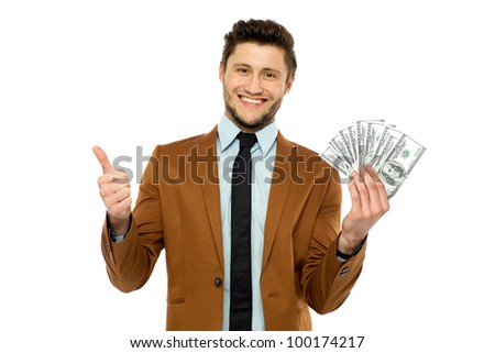 Man holding dollar bills