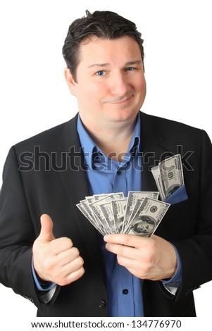 Man holding dollar bills - stock photo