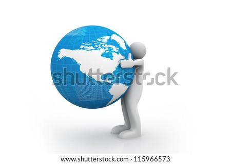 Man holding Earth with his hands