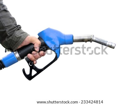 Man holding fuel pump on white background. - stock photo