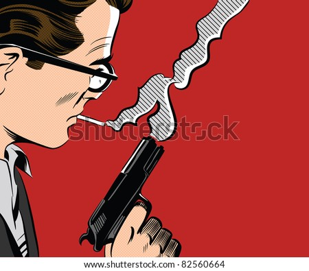 Man Holding Gun Smoking A Cigarette - stock photo