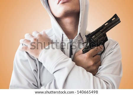 Man Holding Gun,Use As Adult Content - stock photo