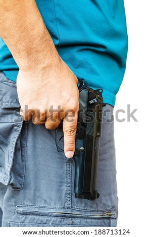Man holding handgun on white background