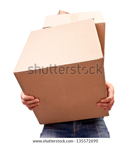 Man holding heavy card boxes, isolated on white - stock photo