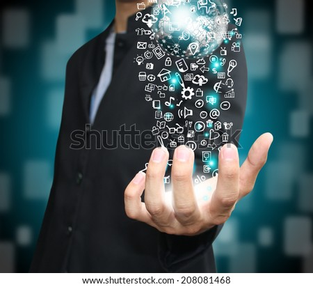 Man holding icons - stock photo
