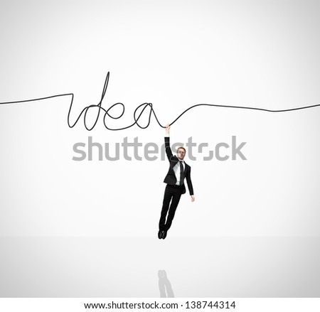 Man holding idea - stock photo