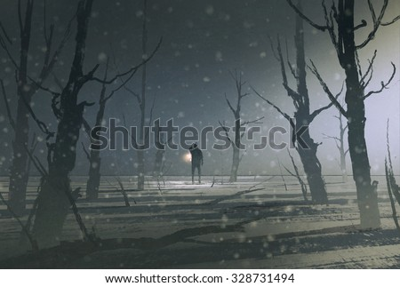 man holding lantern stands in dark forest with fog,illustration painting - stock photo