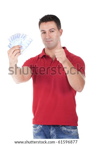 man holding money and making ok sign - stock photo