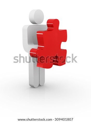 Man holding puzzle piece , This is a computer generated and 3d rendered image.