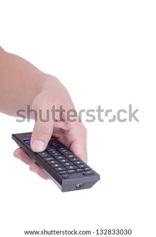 Man holding remote control television isolated over white background