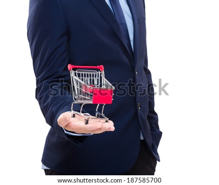 Man holding shopping cart