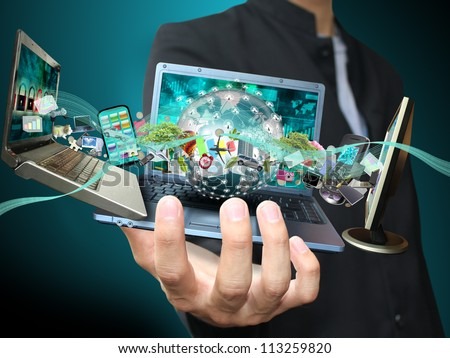 Man holding social object - stock photo