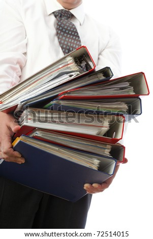 man holding stack of folders Pile with old documents and bills. Isolated on white background - stock photo