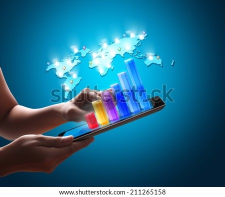 Man holding tablet computer with graphic - stock photo