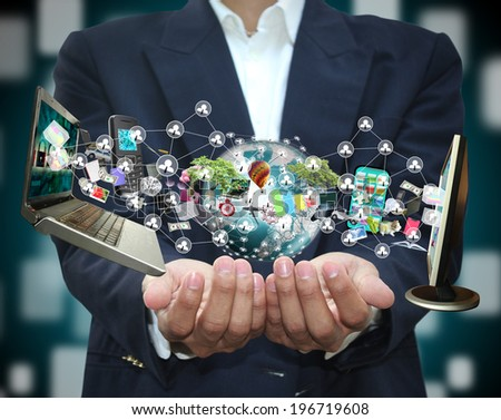 Man holding technology - stock photo