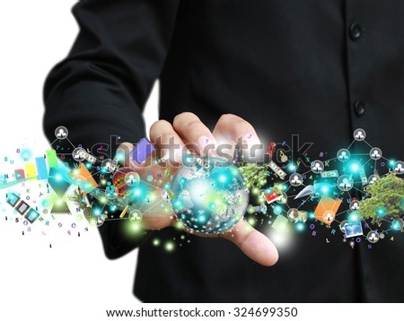 man holding technology - stock photo