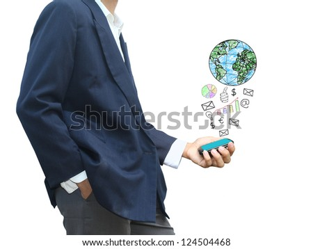 Man holding technology phone - stock photo