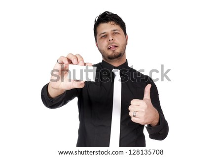 Man holding the blank white card isolated - stock photo