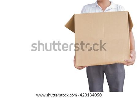 man holding the box - stock photo