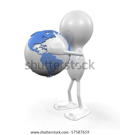 Man holding the Planet - stock photo
