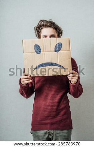 man holding the sad - stock photo