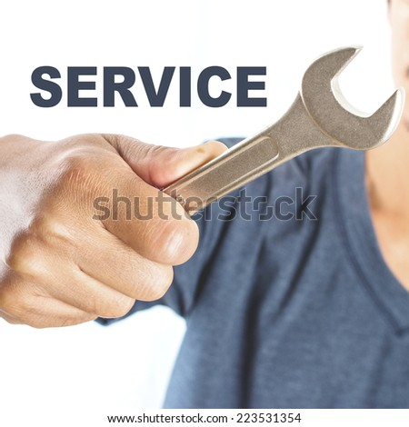 Man holding tool ,Service concept - stock photo