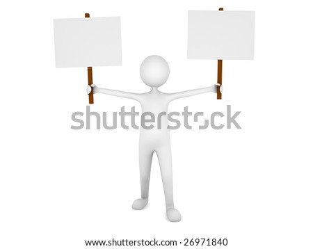 Man holding two blank sign boards - stock photo
