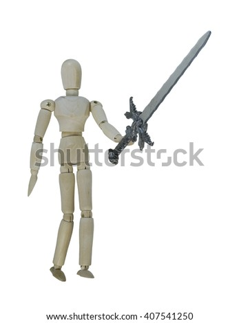 Man holding up a heavy sword - path included - stock photo