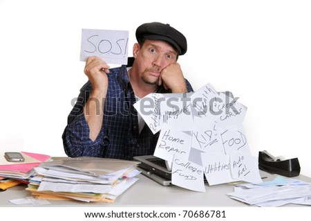 Man holding up an S.O.S. sign in need of help with his financial situation. - stock photo
