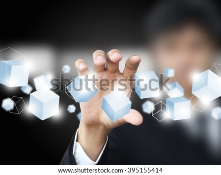 Man holding virtual box
