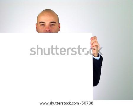Man holding white card - stock photo