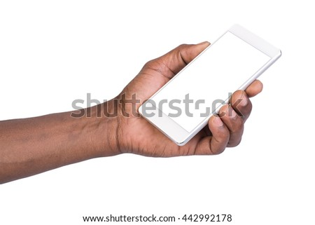 Man holding white mobile smart phone with blank screen. Isolated on white.  - stock photo