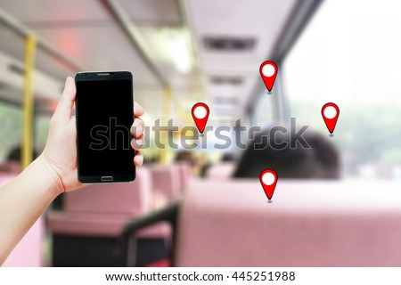 Man Holding With Mobile GPS Net Wed Line Tech Data Art Land Earth Globe World Atlas Pin Pass Sale Info Mark Icon Card Bank Online Wallet Touch Buy Retail GPRS Trip Man Path Road Hand City Find Smart - stock photo