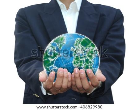 Man holding world - stock photo
