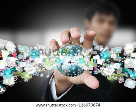 Man holding world object - stock photo