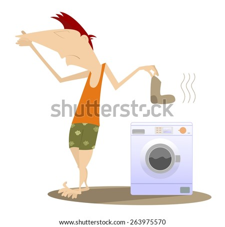 Man holds his nose and going to wash dirty laundry - stock photo