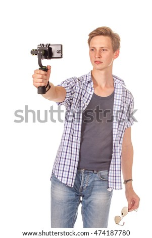 Man holds mobile phone on abstract gimbal. Isolated on white.