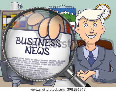 Man Holds Out a Text on Paper Business News. Closeup View through Magnifier. Colored Doodle Illustration. - stock photo