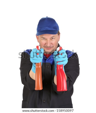 Man holds spray botlles as gun. Isolated on a white background.