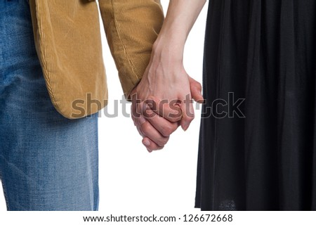 Man holds the woman's hand